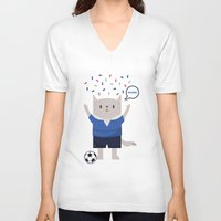 sports V-neck T-shirts featuring Sports Cat by The Cat