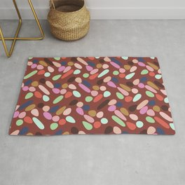 Dancing Shapes Pattern Multicolored Red Rug