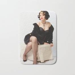 """Fur Coat #1"" - The Playful Pinup - Sexy Vintage Pinup in Fur Coat by Maxwell H. Johnson Bath Mat"