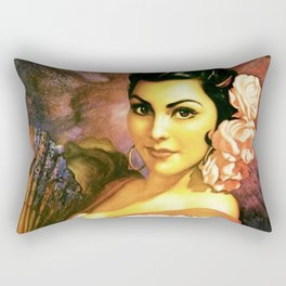 Jesus Helguera Painting of a Mexican Calendar Girl with Fan Rectangular Pillow