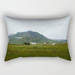 Icelandic Horses Posing for a Photo Rectangular Pillow