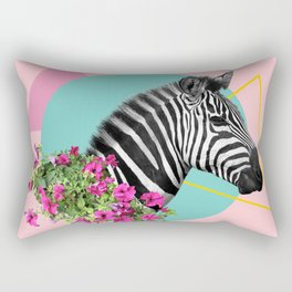 zebra and petunias Rectangular Pillow