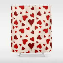 Ditsy dark hearts for lovers Shower Curtain