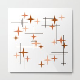 Mid Century Modern Stars Orange Metal Print