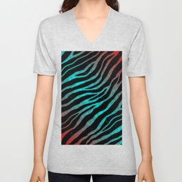 Ripped SpaceTime Stripes - Red/Cyan Unisex V-Neck