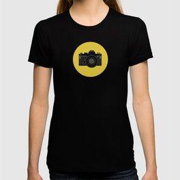 Vintage Film Camera in black T-shirt