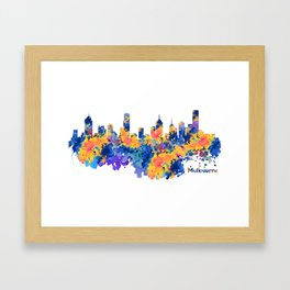 Melbourne Watercolor Skyline Framed Art Print