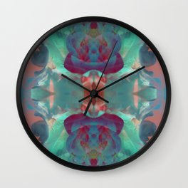 Deep in a Blue Flower Kaleidoscope Wall Clock