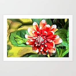 Red & White Art Print