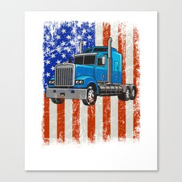 Truck Driver American Flag Proud Trucker graphic Canvas Print