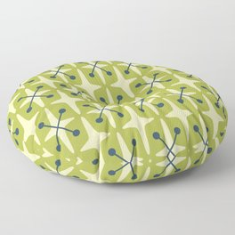 Mid Century Modern Star Pattern 541 Chartreuse Floor Pillow