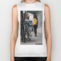 backpack Biker Tanks featuring Bikes and backpack by RMK Photography