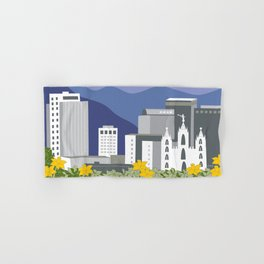 Salt Lake City, Utah - Skyline Illustration by Loose Petals Hand & Bath Towel