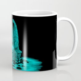 Angel lost in thought , black and green Design Coffee Mug