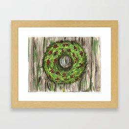 Barn Door Wreath Framed Art Print