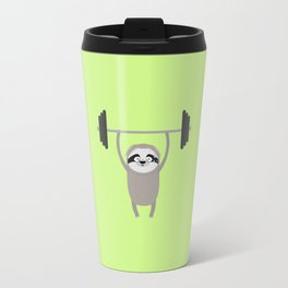 Fitness muscle Sloth wit Weights T-Shirt Travel Mug