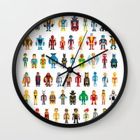 heroes Wall Clocks featuring Pixel Heroes by Pahito