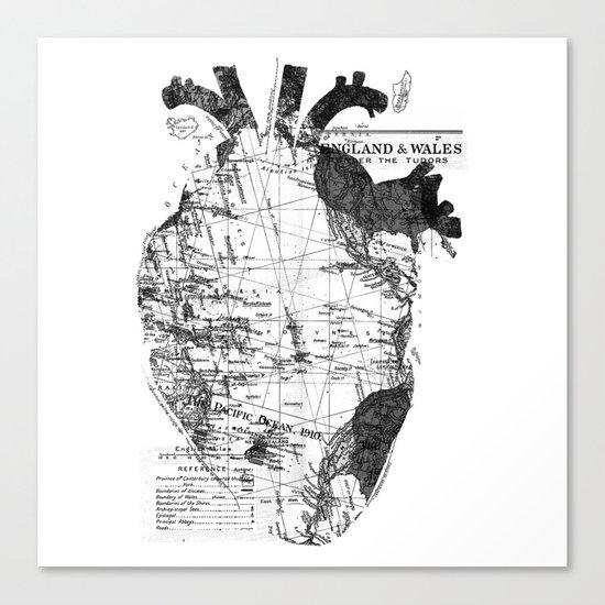 Heart Wanderlust Black and White Canvas Print