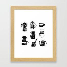 Coffee linocut square pattern coffee lover minimal black and white printmaking gift Framed Art Print