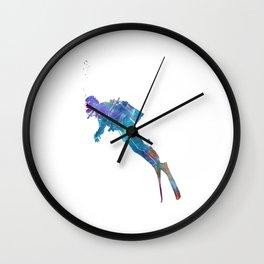 Man scuba diver 02 in watercolor Wall Clock