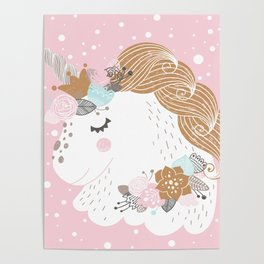 I Love Unicorns ink Unicorn Head Baby's Nursery nd Girls Room Decor Poster