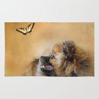 pomeranian Area & Throw Rugs featuring Butterfly Dreams - Pomeranian by Jai Johnson