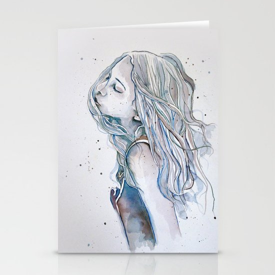 Breeze (variant II), watercolor painting Stationery Cards
