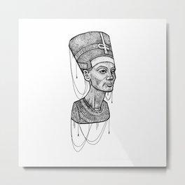 Nefertiti bust dotted Metal Print