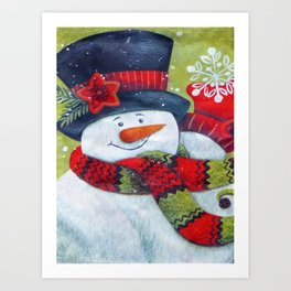 Snowman with Scarf Art Print