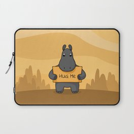 """Cute hand drawn Hippo with sign """"Hug me"""" Laptop Sleeve"""
