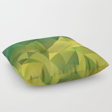 Abstract of triangles polygon in green yellow lime colors Floor Pillow