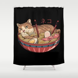 Neko Ramen v2 Shower Curtain