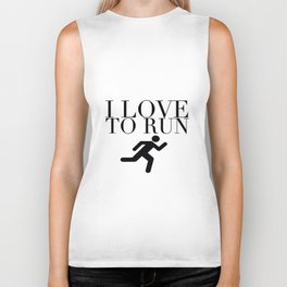 I Love to Run with Running Stick Figure in Black Biker Tank