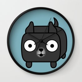 Pitbull Loaf - Black Pit Bull with Cropped Ears Wall Clock