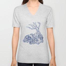 Folk Floral Indigo Deer Unisex V-Neck