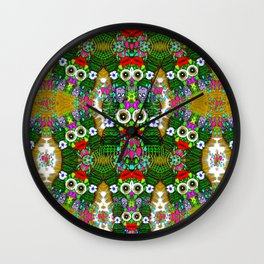 sugarskulls flower girls and love pop art Wall Clock