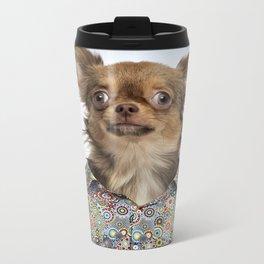 Dog wearing a floral shirt Metal Travel Mug