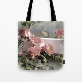 Pink Roses on Fence Rail Tote Bag