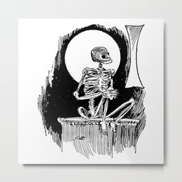 Skeleton waiting Metal Print