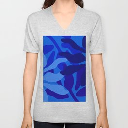 Jungle at Night in Beautiful Blue Unisex V-Neck