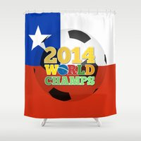 chile Shower Curtains featuring 2014 World Champs Ball - Chile by crouchingpixel