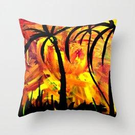Palms aFire Throw Pillow