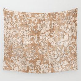 Vintage white brown grunge shabby floral Wall Tapestry