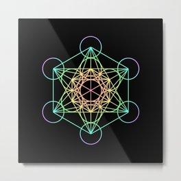 Metatron's Cube- Rainbow on Black Metal Print