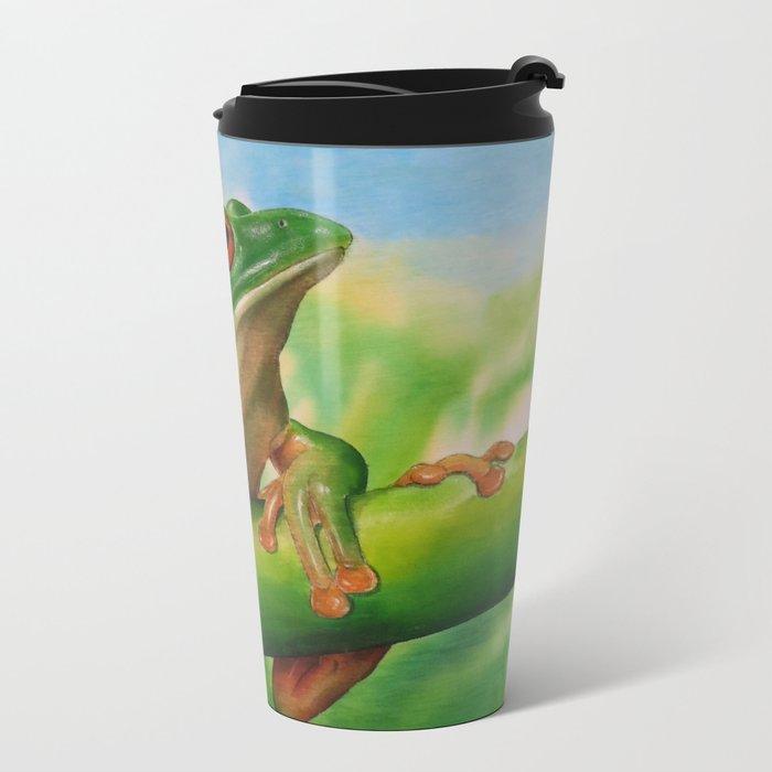 Green Treefrog Metal Travel Mug
