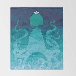 Octopus, sea creature, animals, ocean watercolor teal blue Throw Blanket
