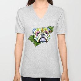 English Bulldog - Day of the Dead Sugar Skull Dog Unisex V-Neck