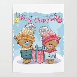 Merry Christmas Cute Cartoon Teddy Bear in a knitted cap Poster