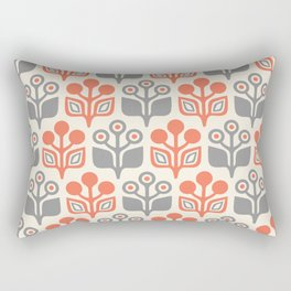 Mid Century Garden Flower Pattern Orange Grey Rectangular Pillow