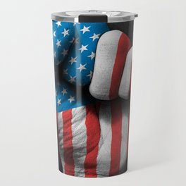 Flag of The United States on a Raised Clenched Fist Travel Mug